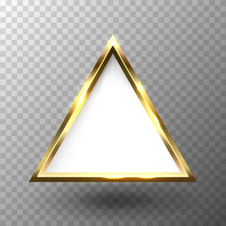 Abstract shiny golden triangle frame with white empty space for text, on transparent background, vector illustration
