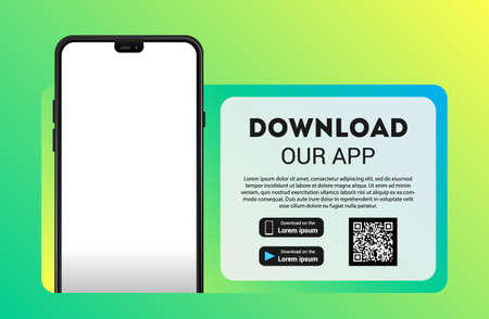 Download page of the mobile app mock up. Empty screen smartphone for you app. Download buttons. Vector illustration. 版權商用圖片 - 154386987