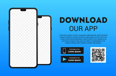 Download page of the mobile app mock up. Empty screen smartphone for you app. Download buttons. Vector illustration. 版權商用圖片 - 154386989