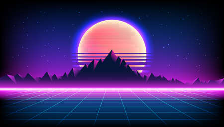 80s Retro Sci-Fi Background with Sunrise or Sunset night sky with stars, mountains landscape infinite horizon mesh in neon game style. Futuristic synth retrowave illustration in 1980s posters style 版權商用圖片 - 155110357