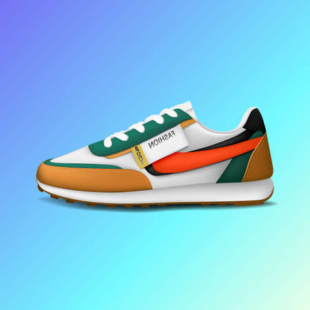 Realistic fashion sport running shoe for training and fitness isolated on color background, trendy sneakers, vector illustration 版權商用圖片 - 154789711