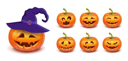 Set pumpkin on white background. The main symbol of the Happy Halloween holiday. Orange pumpkin with smile and witch hat for your design for the holiday Halloween. Vector illustration.