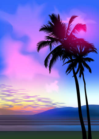 Summer tropical beach background with palms, sky sunrise and sunset. Summer party placard poster flyer invitation card. Summertime, vector illustration. 版權商用圖片 - 155514248