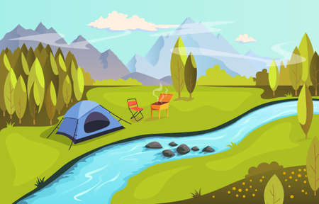 Summer camping and nature tourism concept. Camping in nature by the river with barbecue. Landscape with mountains, forest, river and tent, vector illustration in flat style.