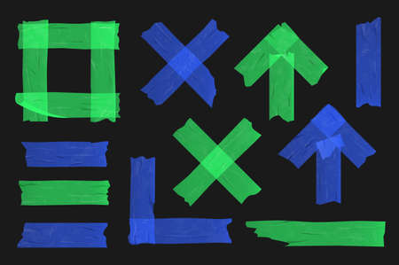Blue and green adhesive tape set on black background.