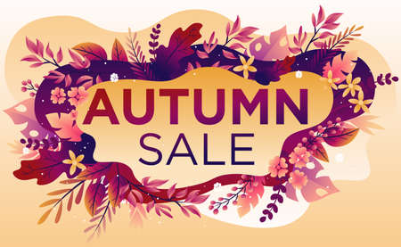 Trendy fall sale poster with gradient bright autumn foliage of maple, oak, elm and chestnut, vector illustration.