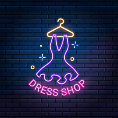 Dress shop neon light sign on dark brick wall background, vector illustration. Dressmaker, atelier, showroom, tailor, boutique banner. 版權商用圖片 - 155514252