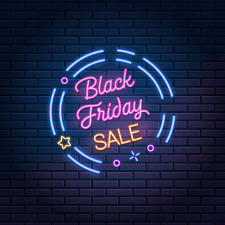 Black Friday Sale glowing neon sign on dark brick wall background, vector illustration. Shopping discount advertising banner.