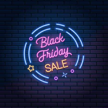 Black Friday Sale glowing neon sign on dark brick wall background, vector illustration. Shopping discount advertising banner. 版權商用圖片 - 155514250