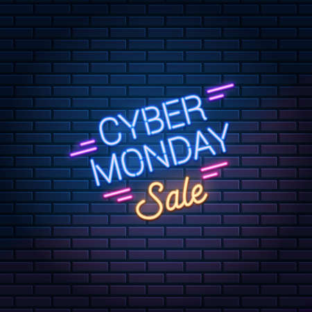 Cyber Monday Sale neon sign on dark brick wall background. Super discounts shopping promo, vector illustration. 版權商用圖片 - 155514251