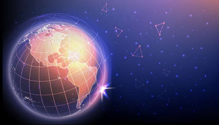 High tech innovations and cyber connections concept. Planet Earth surrounded by polygonal mesh representing global network, vector illustration. Copy space for text. Illustration