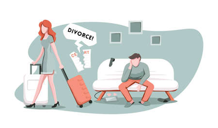 Angry wife with suitcase walking away from her husband, ready for divorce. Married couple undergoing relationship crisis, breakup or separation, cartoon vector illustration.  イラスト・ベクター素材