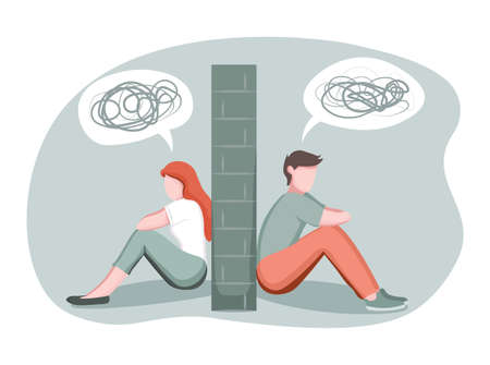 Divorce, breakup, separation concept. Depressed man and woman divided by stone wall, married couple having relationship problem, love misunderstandings, vector illustration in flat style 版權商用圖片 - 155666800