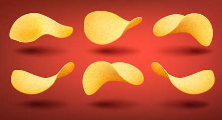 Set of yellow crispy chips isolated on red with shadow background, different shape pieces of potato snack, vector illustration 版權商用圖片 - 155674393