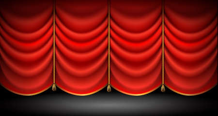 Closed red curtains with with gold ropes and tassels, stand up, opera or theater show background. vector. Ilustração