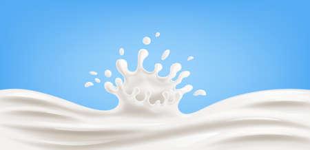Realistic splash of milk on blue background Vector illustration