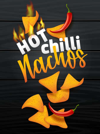 Nachos corn chips set oo dark wood background with chili. Traditional Mexican fast food, vector illustration in realistic style cover packs of chips design.