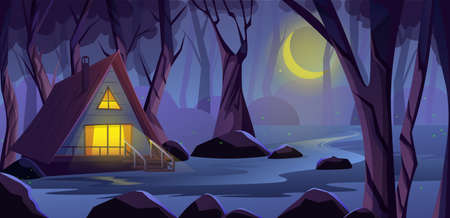 Wooden cottage house in night forest, on the edge of a swamp. Light in the windows. Fireflies in deep forest with Scary trees. Witch house in fantasy game background, Vector illustration 向量圖像