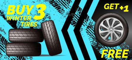 Car tires shop banner with discount offer on blue Vettoriali
