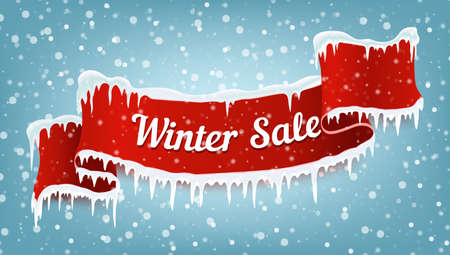 Winter sale banner with red realistic ribbon, icicles and falling snow. Vector illustration. Vettoriali