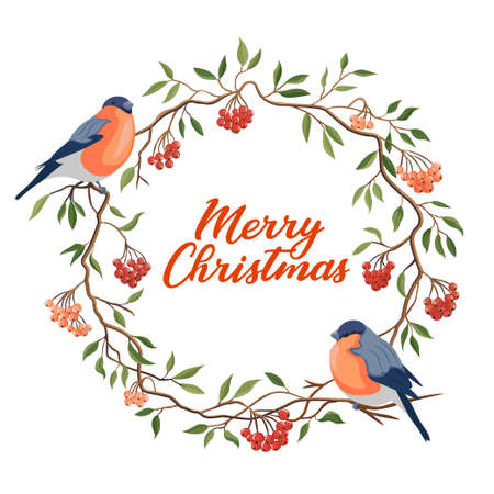 Hand drawn Merry Christmas typography in rowanberry winter wreath with bullfinches banner. Celebration text with berries and leaves for postcard, icon or badge. Vector calligraphy lettering