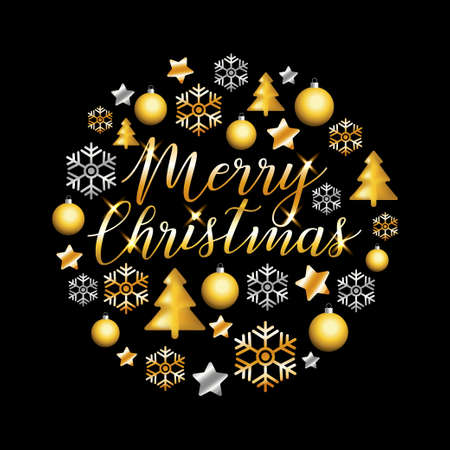 Merry Christmas gold glitter lettering design. Christmas greeting card, poster, banner. Vector golden ans silver glittering stars, balls, snow, snowflakes on black background.