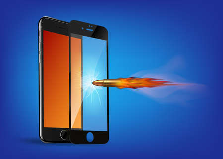 Realistic protective glass cover for phone screen concept - bullet breaks glass but mobile phone is intact, vector illustration. Place for your text. Vettoriali