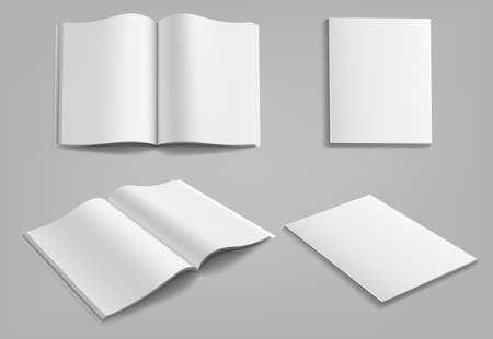Set of blank magazine, album or book mockup mock up isolated on gray background. Ilustração
