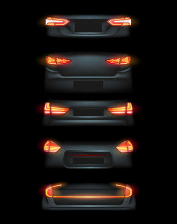 Realistic automotive auto car led glowing intellectual laser matrix xenon headlights front back rear lights bars vector realistic illustration isolated on dark black background.