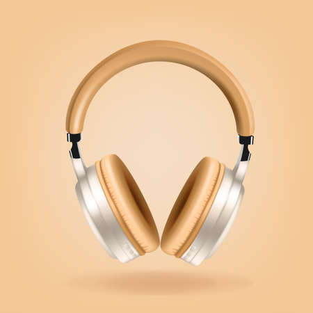 beige and silver headphones isolated on beige background, realistic vector. Club poster with headphones, dance party flyer, dj event, music album cover, vector illustration. Иллюстрация