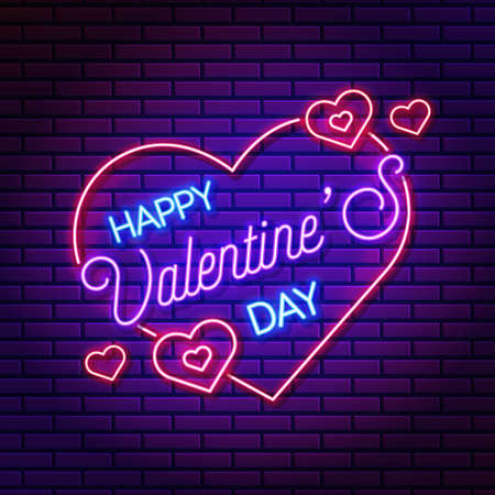 Neon valentines day banner, vector banner with hearts, symbol of love.
