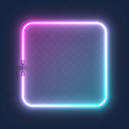 Realistic glowing shape neon square frame isolated on transparent background. Shining and glowing neon effect with wires, Vector illustration