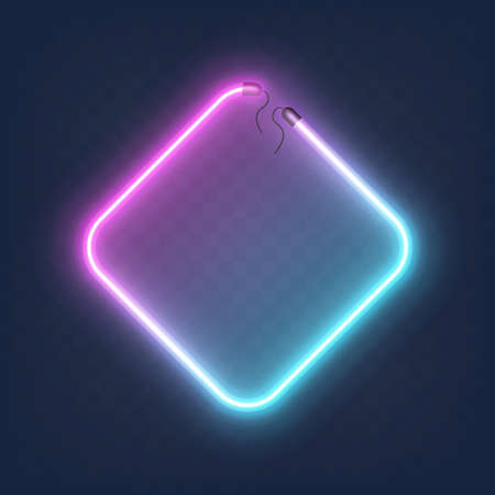 Realistic glowing shape neon rhombus frame isolated on transparent background. Shining and glowing neon effect with wires.