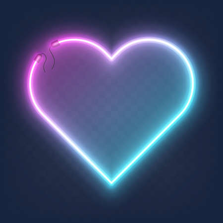 Realistic glowing shape neon heart frame isolated on transparent background. Shining and glowing neon effect with wires.