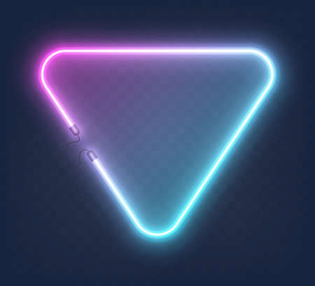 Realistic glowing shape neon triangle frame isolated on transparent background. Shining and glowing neon effect with wires. Иллюстрация