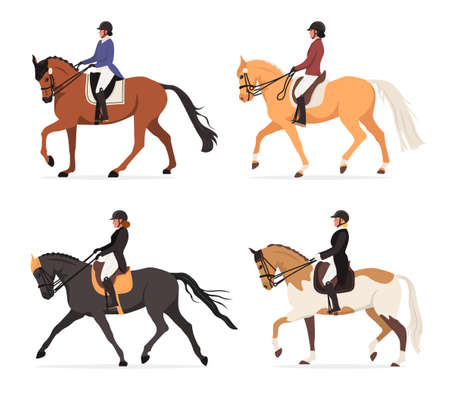 Set of young horsewoman at racecourse. Professional equestrian competition, dressage performance. Woman riding horse at tourney. Female jockey at racehorse. Vector illustration isolated on white.