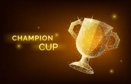 low poly trophy cup wireframe style. Concept of gold champion cup. Polygonal abstract isolated on black background. Vector illustration