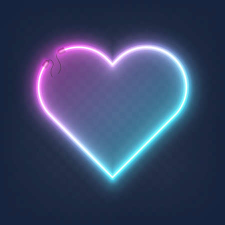 Realistic glowing shape neon heart frame isolated on transparent background. Shining and glowing neon effect with wires, Vector illustration Ilustração