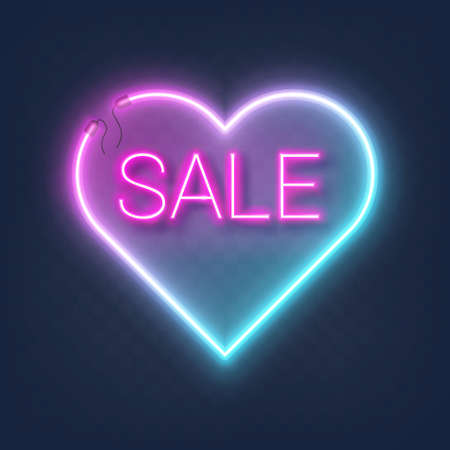 Realistic glowing shape neon heart frame with sale sign isolated on transparent background. Shining and glowing neon effect with wires, Vector illustration Ilustração