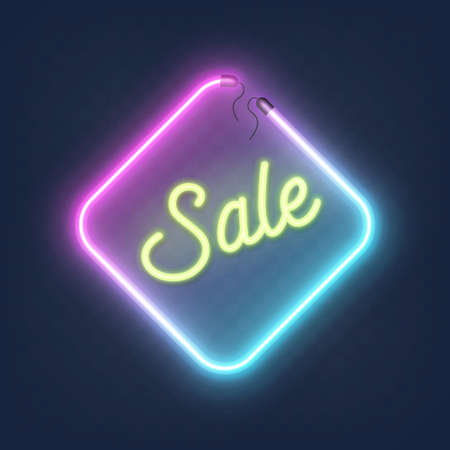 Realistic glowing shape neon rhombus frame with sale sign isolated on transparent background. Shining and glowing neon effect with wires, Vector illustration