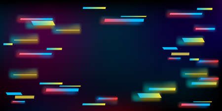 Vector illustration of an abstract glitch background. Cyberpunk concept. Colorful techno backdrop with aesthetics of style of 80s. Place for text