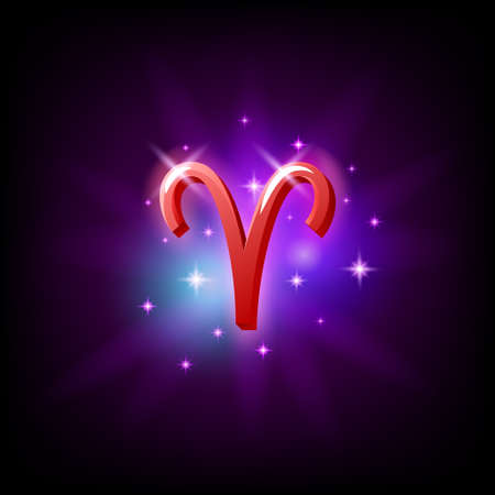 Aries Constellation icon in space style on dark background with galaxy and stars. Zodiac sign of fire Vector Illustration
