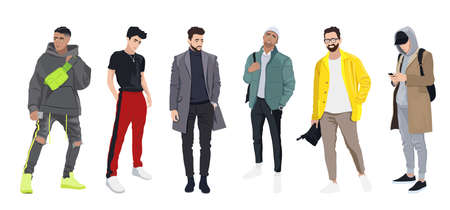 Set of men dressed in stylish trendy clothes, trendy guys, models in modern street style, autumn looks - jackets, coats, baseball caps, joggers vector male cartoon characters, vector illustration