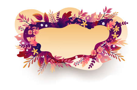 Seasonal autumn hand drawn frame vector background.Fall decorative border with dried leaves,acorns,berries and place for text.Foliage backdrop with forest leafage for social media post banner. Ilustração