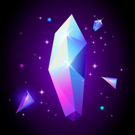 Abstract trendy cosmic poster with crystal gems and pyramid geometric shapes. Neon galaxy background. 80s style. Poster with geometric polygon pyramid or crystal. Vector illustration