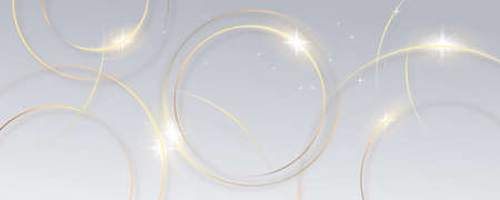Abstract gold circle lines on white background.