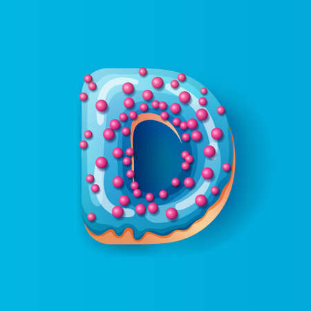 Donut icing blue upper latters - D Font of donuts. Bakery sweet alphabet. Donut alphabet latter D isolated on blue background, vector illustration.
