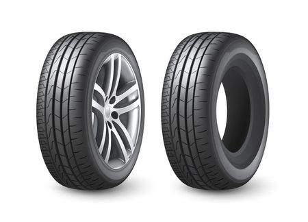 Realistic shining disk car wheel tyre isolated on white background vector illustration Vektorgrafik