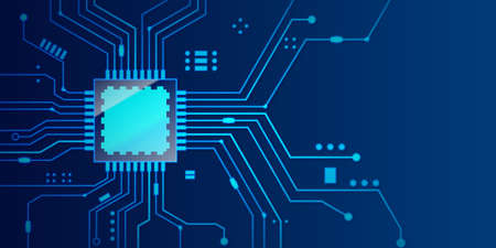 Microchip processor banner with blue background. Vector Illustration