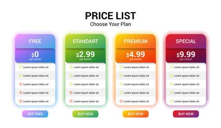 Vector pricing plan banners infographic template. Marketing presentation slide. Business labels concept infographics. 4 options, parts, steps, processes Illustration